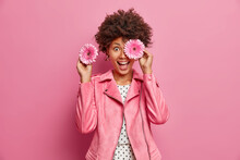 Positive Female Florist Covers Eyes With Fragrant Gerbera Flowers Makes Bouquets For Special Occasions Smiles Broadly Wears Fashionable Jacket Isolated Over Pink Background. Feminity Concept.