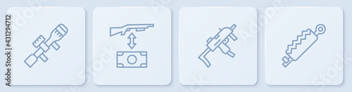 Fotografie, Obraz Set line Sniper optical sight, MP9I submachine gun, Buying assault rifle and Trap hunting