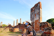 Visitor Wearing Face Mask During A Visit To Wat Phra Si Sanphet And Old Royal Palace Amid COVID-19, Ayutthaya, Thailand