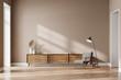 Leinwandbild Motiv Living room interior with cozy armchair, panoramic window and sideboard