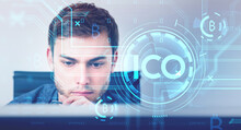 Businessman Thinking And Analysing, ICO Icon And Cryptocurrency
