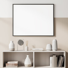 Light Living Room Interior With Drawer And Books, Poster Mock Up