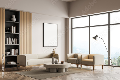 Cuadros en Lienzo Light living room interior with sofa and armchairs, bookshelf and poster mock up