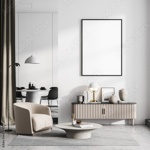 Fototapeta Light living room interior with armchair, drawer and dining room, poster mock up obraz