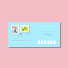 Blue Long Envelope, Postmarks And Postage Stamps, Eiffel Tower With Clouds And Branch With Green Leaves. With Shadow Isolated On Pink Background. Vector Illustration, Trendy Style, Cozy Pastel Colours