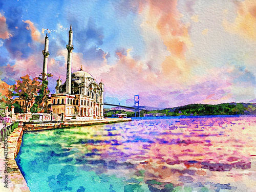 Fotografia Ortakoy Mosque and Bosphorus Bridge during colorful morning sunrise, one of the most popular locations in the Bosphorus of Istanbul, Turkey
