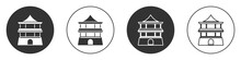 Black Traditional Chinese House Icon Isolated On White Background. Circle Button. Vector