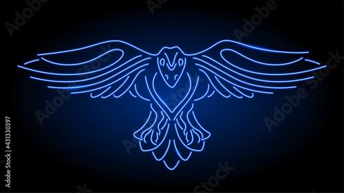 Fototapeta premium Line art with neon blue shiny stylized raven
