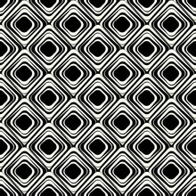 Monochrome Rhombuses Pattern. Seamless Rounded Rhombuses. Vector Wallpaper.