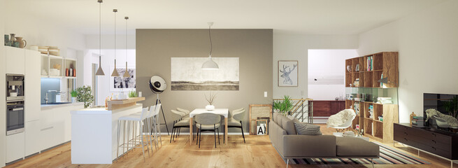 modern luxury european apartment loft with scandinavian furniture design