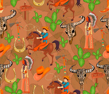 Seamless Pattern With Indian, Cowboy, Mustang, Cacti, Tomahawk, Bison Skull, Mojave Desert. Wild West Theme.