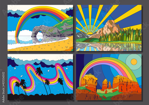 Fototapeta Psychedelic Color Scenery Set, Coast, Ocean, Forest, Mountains, Desert Outdoor Illustrations  obraz