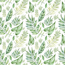 Seamless Wallpapers. Pattern With Watercolor Tropical Leaves