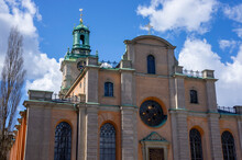 East Facade Of The Cathedral Of St. Nicholas In Stockholm, Overlooking The Royal Square