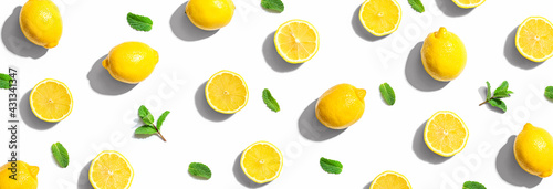 Fresh yellow lemons with mints overhead view