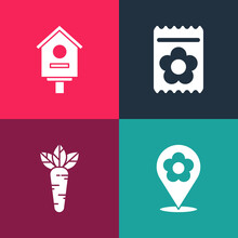 Set Pop Art Location With Flower, Carrot, Pack Full Of Seeds Of Plant And Bird House Icon. Vector