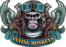 Monkey Wearing Old Pilot Helmet And Goggles