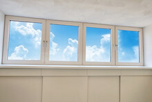 Fresh White Modern Dormer Window With Blue Sky And White Clouds View, New Dormer, Roof Window In Empty New House