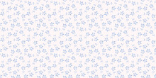 Tiny Blue Flowers Seamless Repeat Pattern Vector Background