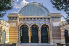 Architectural Fragments Of Palace Velasquez (Palacio De Velasquez Or Palacio De Exposiciones, 1883) In Public Buen Retiro Park, Madrid, Spain.