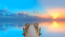 Perspective View Of A Wooden Pier On The Sea At Sunset With Specular Reflection