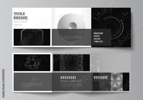 Fototapeta Vector layout of square covers design templates for trifold brochure, flyer, cover design, book design.Black color technology background. Digital visualization of science, medicine, technology concept obraz