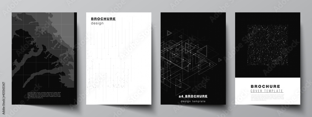 Fototapeta Vector layout of A4 cover mockups templates for brochure, flyer layout, booklet, cover design, book design. Abstract technology black color science background. Digital data. Minimalist high tech.