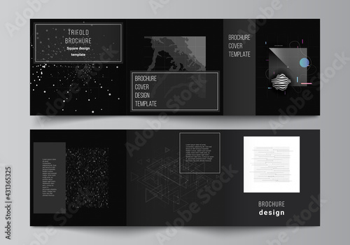 Fototapeta Vector layout of square covers templates for trifold brochure, flyer, magazine, cover design, book design. Abstract technology black color science background.Digital data. Minimalist high tech concept obraz