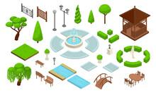 Landscape Design Park Isometric Constructor Icon Set