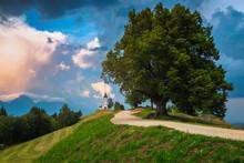 Picturesque Alpine Scenery With Saint Primoz Church, Near Jamnik, Slovenia