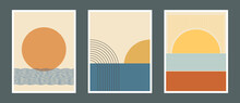 Set Of Abstract Mid Century Posters Composition Vector Design. Modern Boho Minimalist Art. EPS10 Vector Illustration. Sun And Water Concept.