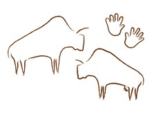 Ancient Bison Silhouettes Rock Art. Prehistoric Grazing Bulls Drawn In Minimalist Style Primitive People With Vector Palm Prints.