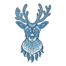 Abstract Blue Deer Head In Ethnic Style