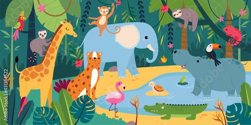 Fototapeta premium Cute African Animals on Exotic Tropical Landscape, Savanna Inhabitants Cartoon Vector Illustration
