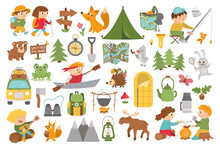Vector Summer Camp Set. Camping, Hiking, Fishing Equipment Collection With Cute Kids And Forest Animals. Outdoor Nature Tourism Icons Pack With Backpack, Van, Fire. Woodland Travel Elements .