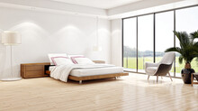 Modern Bright Bed Room Interiors 3D Rendering Illustration Computer Generated Image