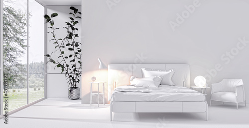 Modern bright bed room interiors 3D rendering illustration computer generated image - fototapety na wymiar