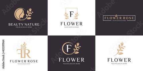 Tela Set of abstract flower rose logo