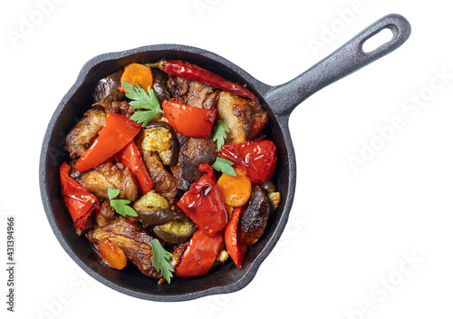 Fotografia, Obraz Pork with grilled vegetable stir fry on pan isolated on white, top vew