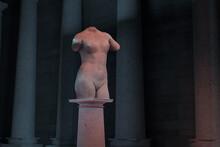 3d Rendering Of Female Torso Statue Standing On Column