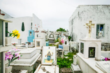 Panteon De San Roman Cemetery Showing Above Ground Graves With Various Types Of Grave Markers, Vaults, And Decorative Tile, Campeche, Mexico.