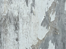Peeling White Paint Flaking Off Old Country Farm Barn Building Wall Closeup