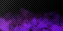 Vector Realistic Isolated Purple Smoke Effect For Decoration And Covering On The Transparent Background.