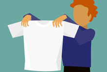 The Vector Template Picture Of A Man Hold White T-shirt.
