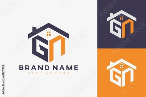 Wallpaper Mural hexagon GN house monogram logo for real estate, property, construction business identity