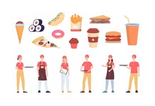 Fast Food Workers And Traditional Takeaway Food A Set Flat Vector Illustrations.