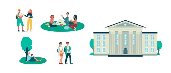 Set of students and university building, flat vector illustration isolated.