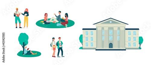Fototapeta Set of students and university building, flat vector illustration isolated. obraz