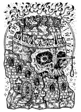 Black And White Engraved Illustration Of Destroyed Tower And Scary Scull With Flame, Gallows And Crown. Mystic Background For Halloween, Esoteric, Gothic, Occult Concept, Tattoo Sketch