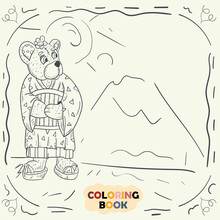 Coloring Book For Young Children Contour Illustration In Doodle Style Teddy Bear Girl In National Japanese Kimono Geisha Costume